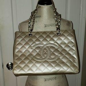 Chanel Vintage Metalic Grand Shopper Tote